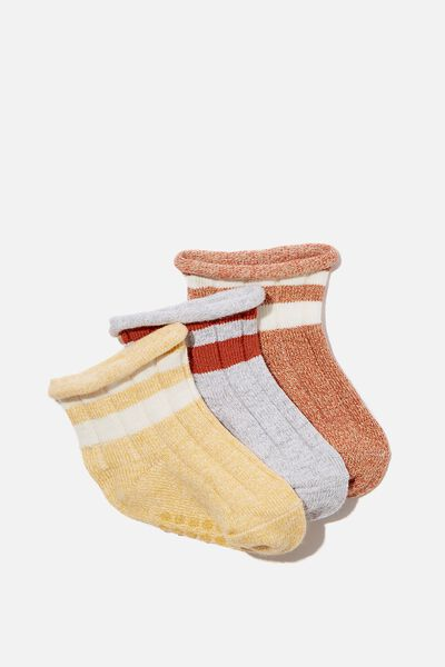 3Pk Baby Socks, NATURAL TWISTED YARN