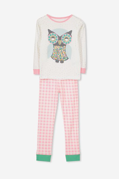 Alicia Long Sleeve Girls PJ Set, NEW GLITTER OWL