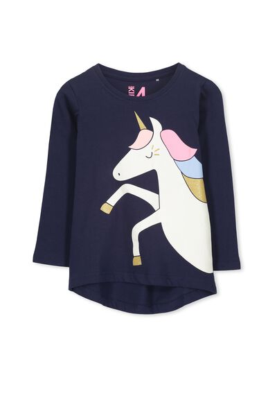 Penelope Long Sleeve Curved Hem, PEACOAT/UNICORN PLACEMENT