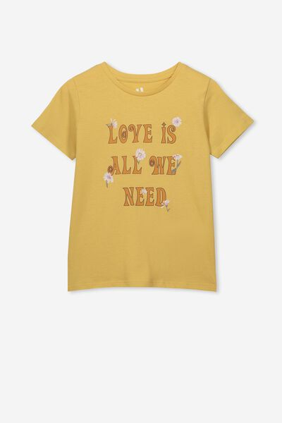 Penelope Short Sleeve Tee, CORN SILK/LOVE IS ALL WE NEED/MAX