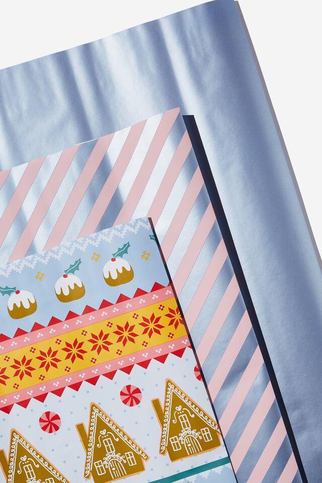 Kids Gift Wrap 3Pack, FAIR ISLE CHRISTMAS