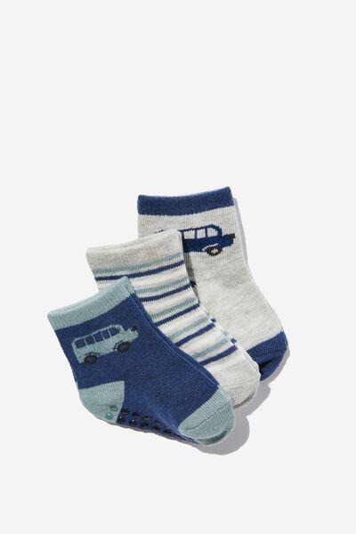 3Pk Baby Socks, RUSTY AQUA PETTY BLUE BUS