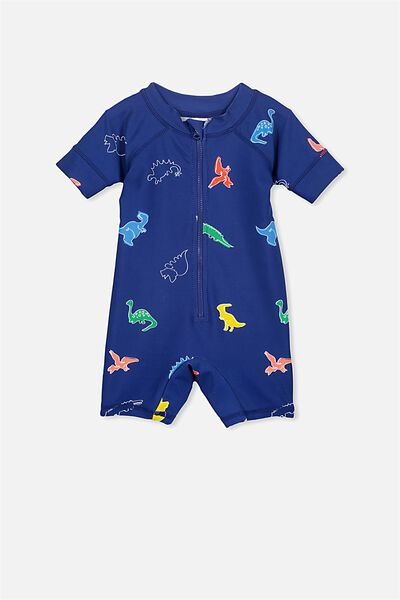 Short Sleeve Harris One Piece Swimsuit, BATEAU BLUE/DINO JUNGLE