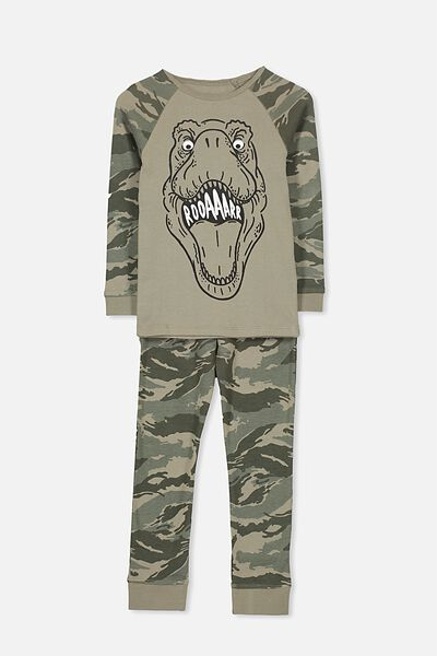 Jacob Boys Long Sleeve Raglan PJ Set, CAMO T-REX