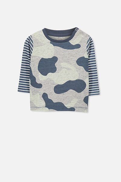 Michael Long Sleeve Tee, NEP GREY MARLE/CAMO PRINT