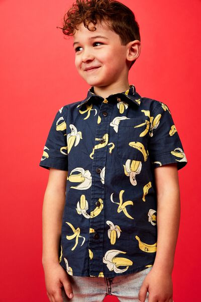 Resort Short Sleeve Shirt, INDIAN INK/BANANAS