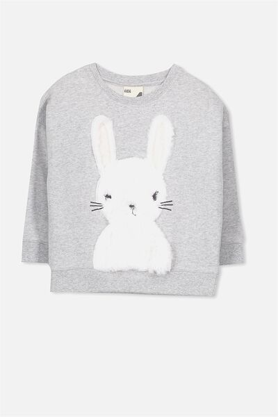 Sage Crew, LIGHT GREY MARLE/FUR BUNNY