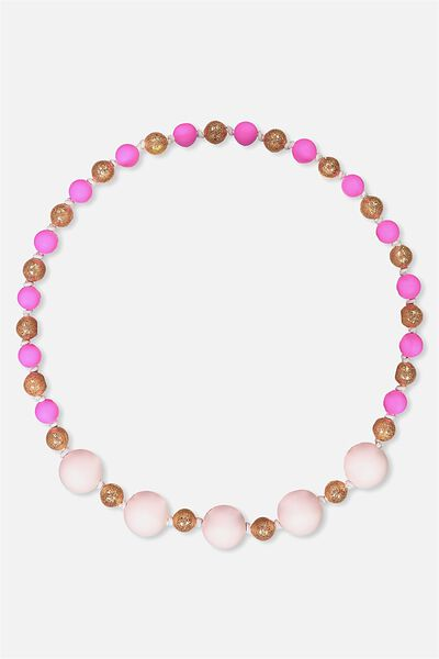 Mixed Beaded Necklace, ELECTRIC PINK/GLITTER
