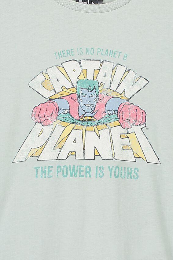 Captain Planet Short Sleeve Tee, LCN CAR STONE GREEN/CAPTAIN PLANET