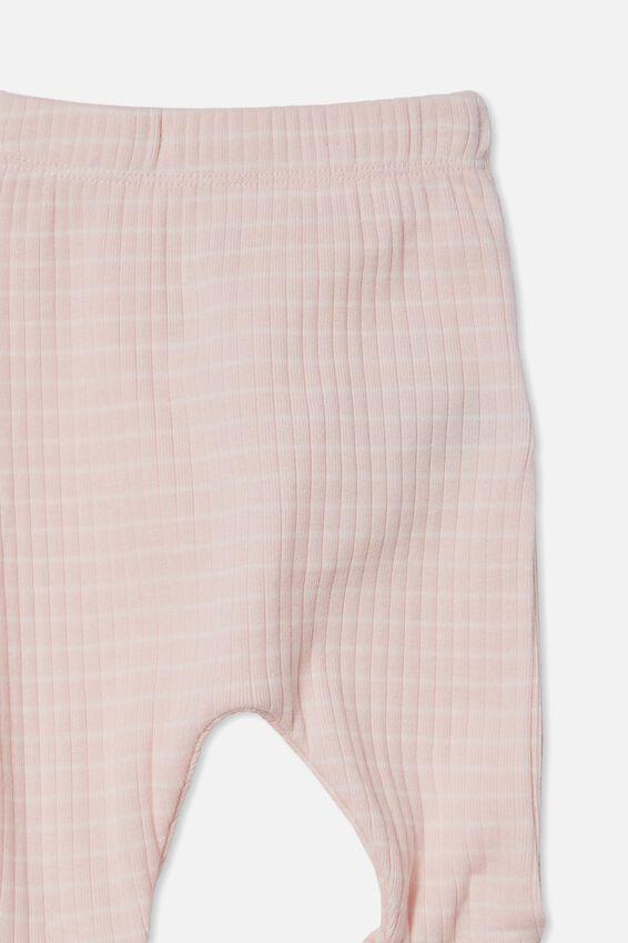 Organic Newborn Footed Legging, CRYSTAL PINK/MILK SALLA STRIPE