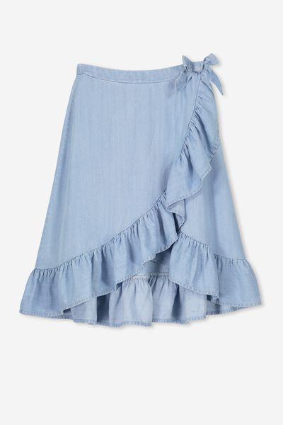 Ria Ruffle Midi Skirt, MID WASH