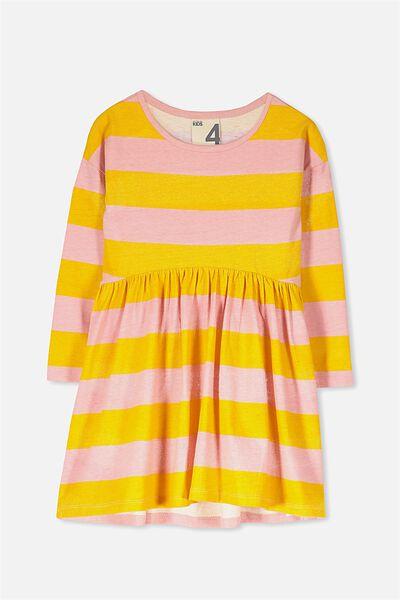 Nicola Long Sleeve Dress, GOLDEN YELLOW/ROSE STRIPE