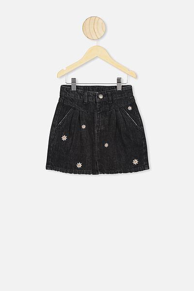 Kirstie Denim Yoke Skirt, BLACK WASH/DAISY