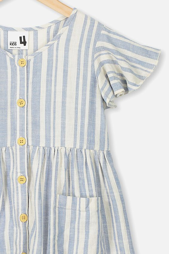 Vanessa Short Sleeve Dress, DUSTY BLUE/DARK VANILLA STRIPE