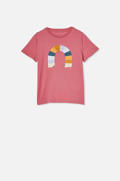 Stevie Short Sleeve Embellished Tee, VERY BERRY/MULTI RAINBOW