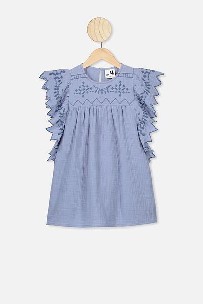 Maggie Short Sleeve Dress, DUSTY BLUE