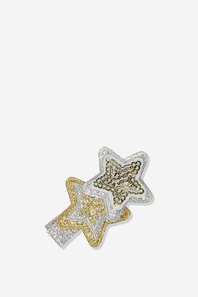 Dress Up Hair Clip, WHITE/GOLD STARS