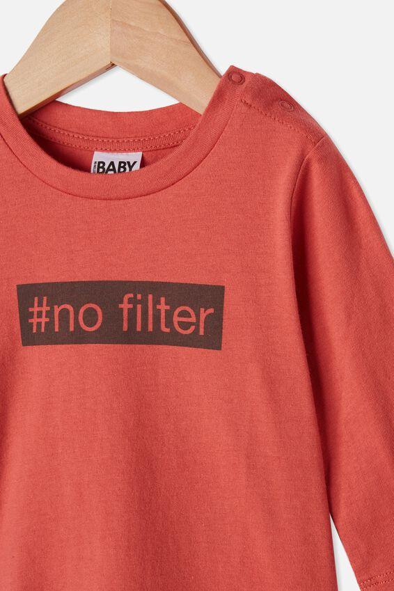 Jamie Long Sleeve Tee, RED BRICK/#NOFILTER