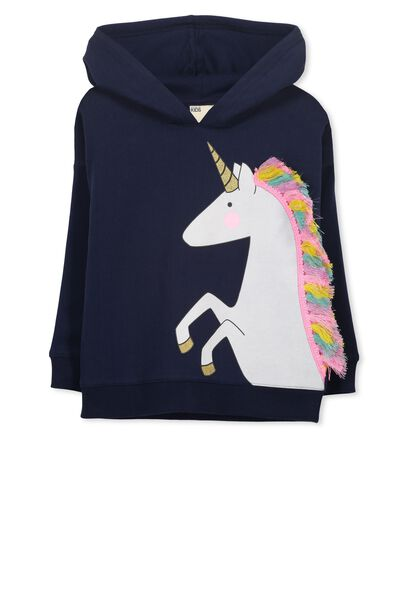 Scarlett Fleece Hoodie, PEACOAT/RAINBOW UNICORN
