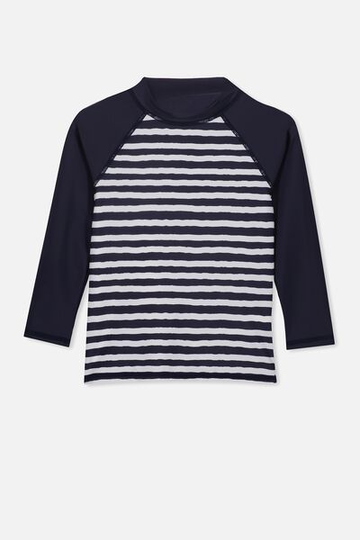 Flynn Long Sleeve Rash Vest, INDIAN INK STRIPE