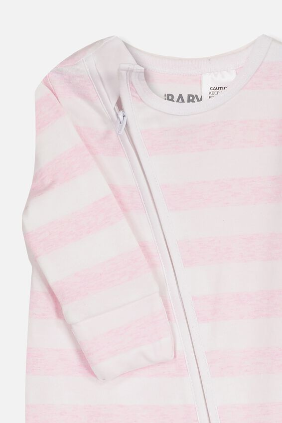 Mini Zip Through Romper, WHITE/PINK MARLE STRIPE