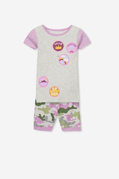 Nicole V1 Girls Short Sleeve Pajama Set, MERIT BADGES