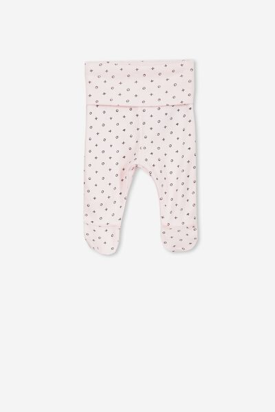 Newborn Footed Legging, ESSENTIAL PINK/MINI NAUGHTS AND CROSSES
