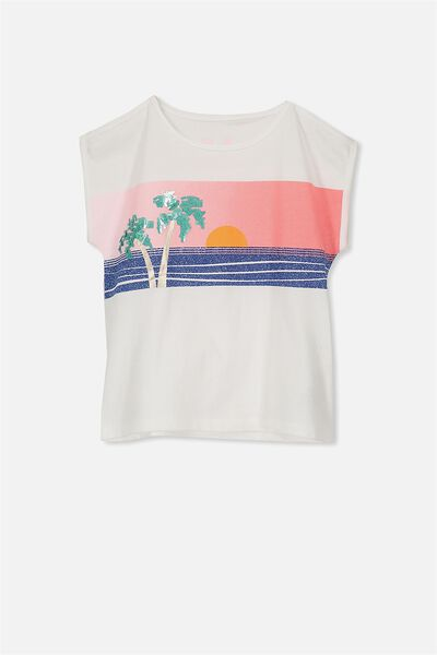 Anna Short Sleeve Cold Shoulder Tee, VANILLA/SUNSET PALMS