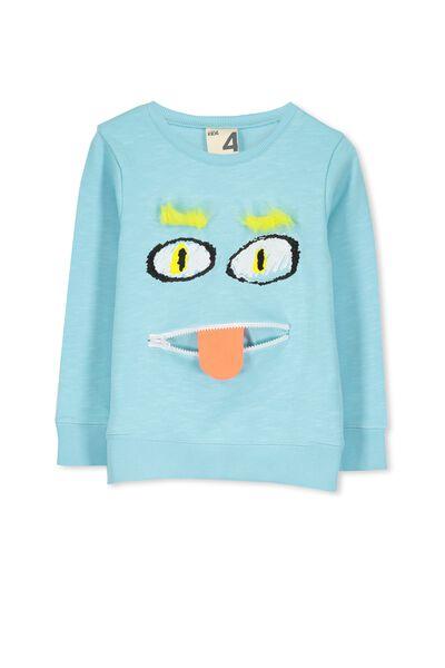 Freddy Crew Sweater, MORRIS BLUE/MONSTER FACE