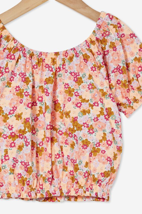 Daphne Puff Sleeve Top, VANILLA/NEWPORT FLORAL