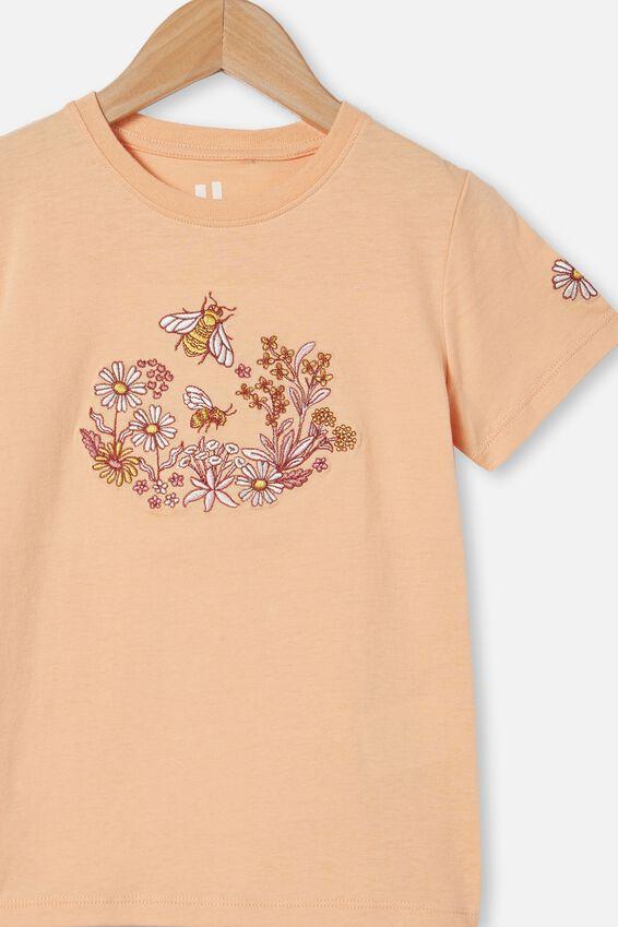 Stevie Short Sleeve Embellished Tee, PEACHY/ BEE GARDEN