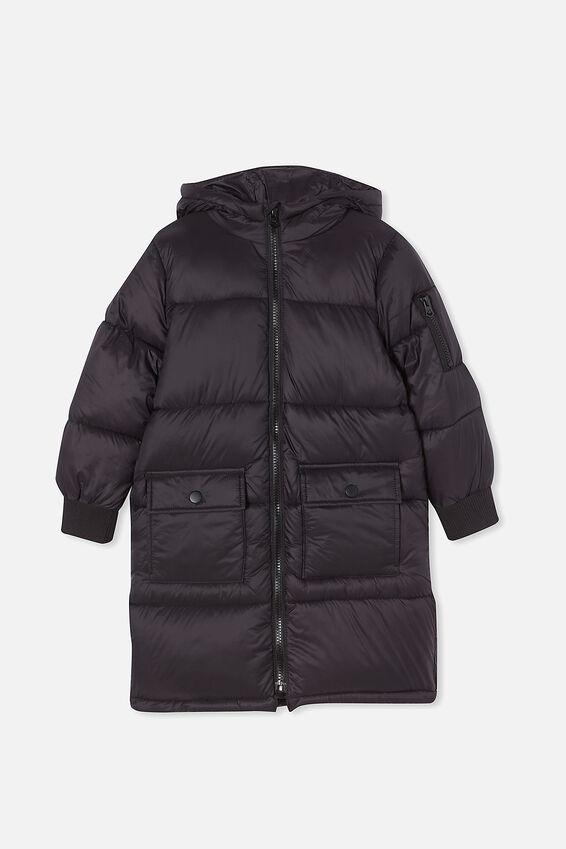 Finley Longline Puffer Jacket, BLACK