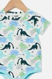 The Short Sleeve Bubbysuit, VANILLA/PETROL TEAL DINO HIVE