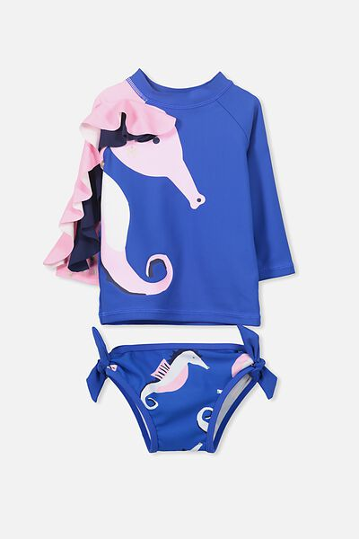 Breeze Bay 2 Piece, PRINCESS BLUE/SEAHORSE