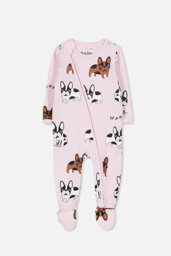 Sleep Mini Zip All In One Jumpsuit, CRADLE PINK/FRENCHIE