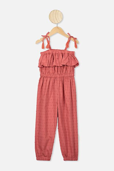 Pascal Jumpsuit, RED BRICK/DOBBY