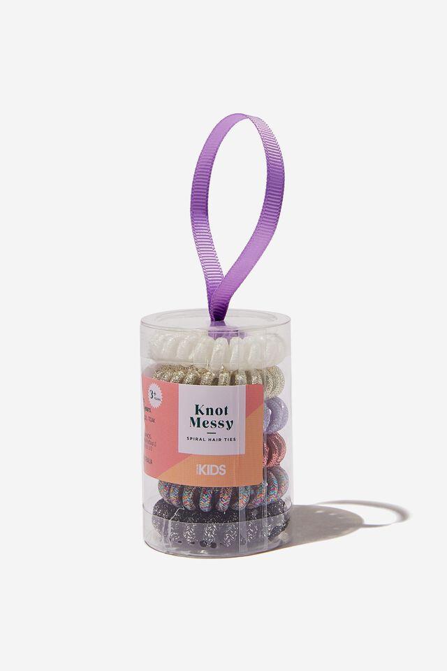 Knot Messy Hair Ties - Spiral Hair Ties, METALLIC ROUND