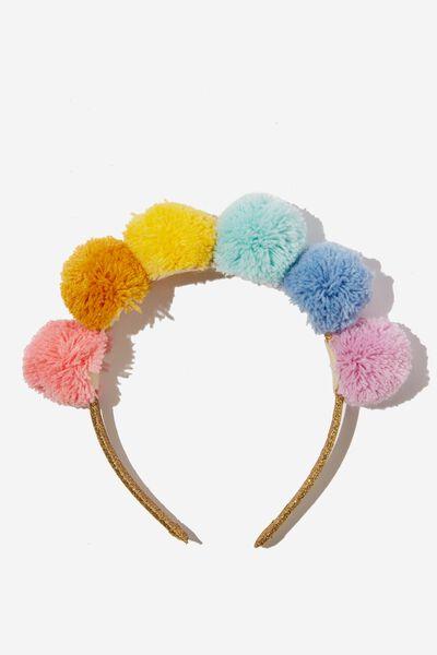 Novelty Headband, RAINBOW POM POM
