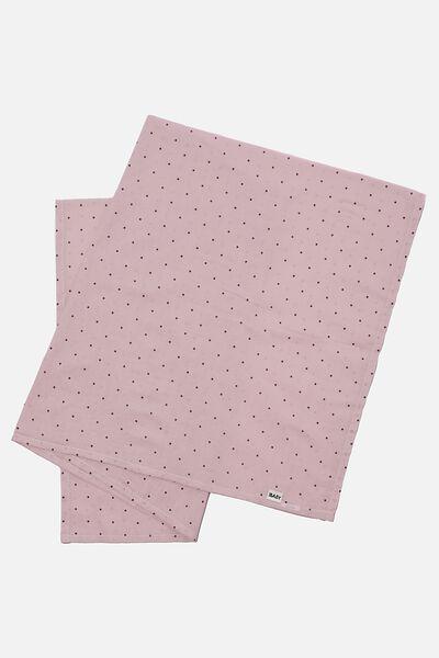 Organic Muslin Blanket, LAVENDER FOG/DUSK PURPLE BETTY SPOT