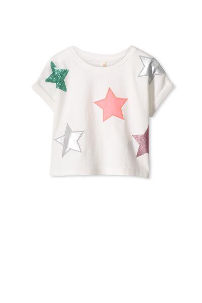Elsa Short Sleeve Tee, VANILLA/STARS