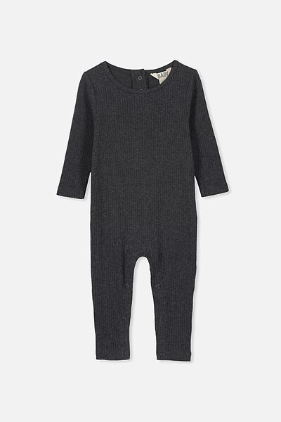 The Rib Snap Romper, GRAPHITE MARLE