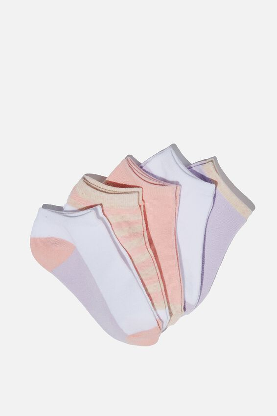 Kids 5Pk Ankle Socks, MARSHMALLOW/ BLUSH MARLE