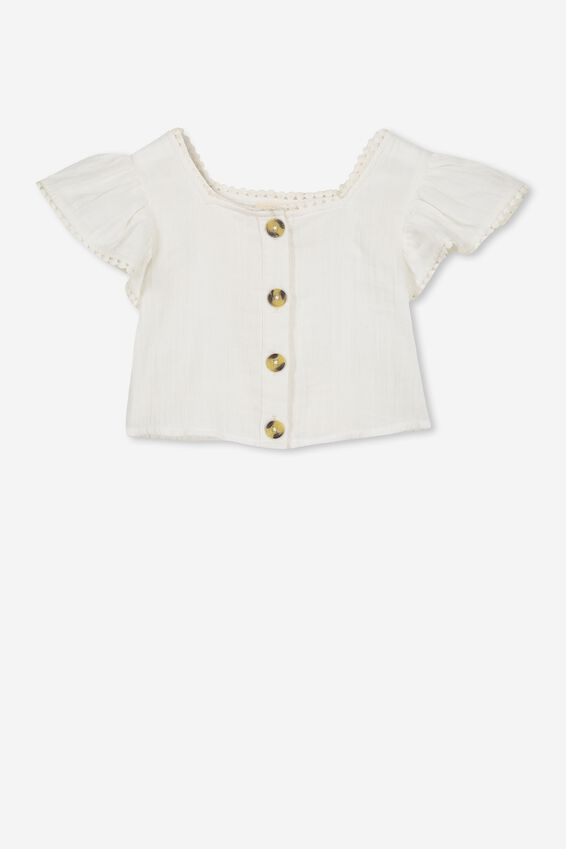 Rosa Ruffle Top, WHITE