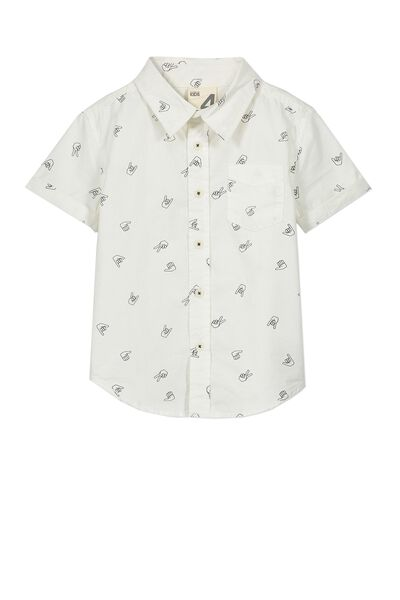 Jackson Short Sleeve Shirt, VANILLA/GRAPHITE HANDS