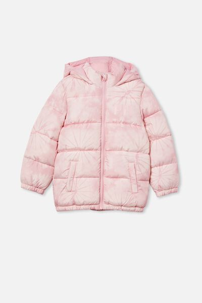 Personalised Frankie Puffer Jacket, CRYSTAL PINK TIE DYE