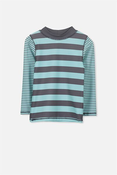 Fraser Long Sleeve Rash Vest, SHELL BLUE/GRAPHITE MIXED STRIPE