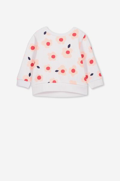 Billie Sweater, WHITE/PINK GRAPEFRUIT HAPPY FLORAL
