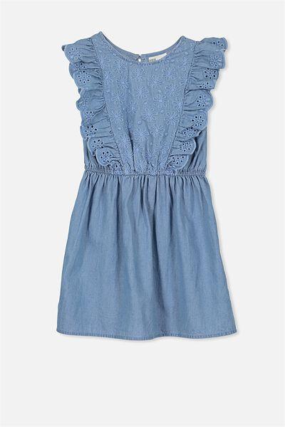 Lulu Dress, MID BLUE WASH/FLOWER EMB