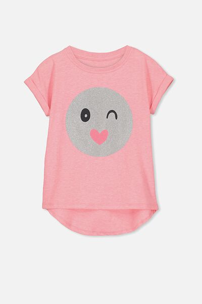 Penelope Short Sleeve Roll Up Tee, AMORE/HAPPY FACE