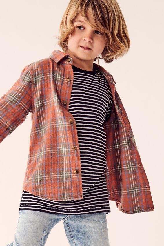 Rugged Long Sleeve Shirt, AMBER BROWN PLAID CHECK